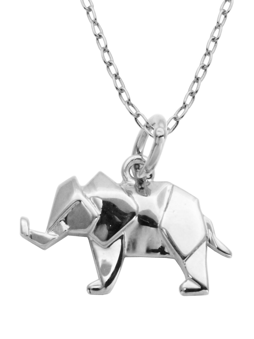 Rhodium-Plated Sterling Silver Origami Elephant Pendant Necklace