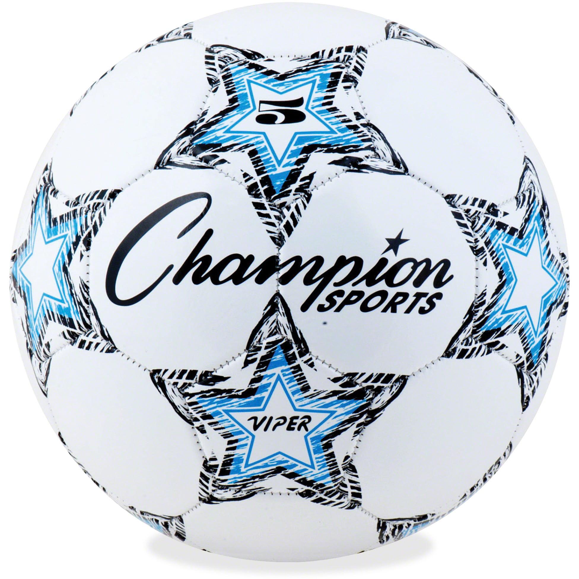 Champion Sport s Size 5 Viper Soccer Ball, White, Blue, Black, 1 Each (Quantity)