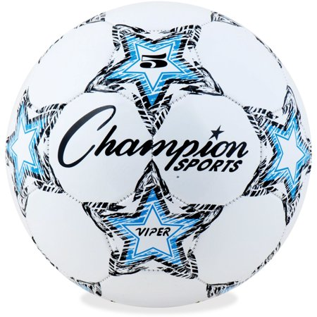 Champion Sports Viper Soccer Ball, Size 5, Black, Blue and White (Bubble Soccer Balls For Adults)