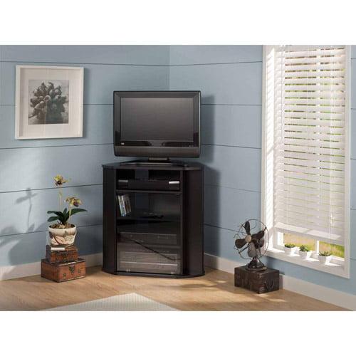 Bush Furniture Visions Tall Corner TV Stand in Black