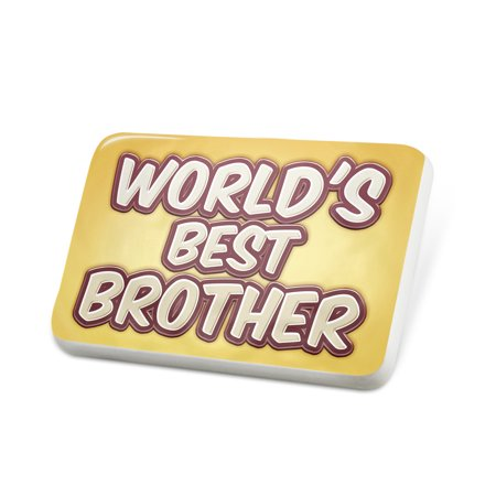 Porcelein Pin Worlds best Brother, happy yellow Lapel Badge – NEONBLOND
