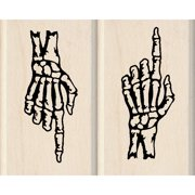 "Inkadinkado Mounted Rubber Stamp Set 2""X2.5""-Skeleton Hands"