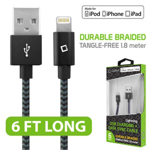 Cellet Premium Lightning 8 Pin Data Sync Cable, Apple MFI Certified Heavy Duty Nylon Braided 6ft. (1.8m) USB Charging/Data Sync Cable for Apple iPhones, iPads and other Lightning Enabled