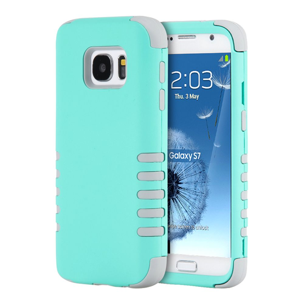 Samsung Galaxy S7 Case, by Insten 3 Pieces Hybrid Dual Layer Hard PC/Silicone Back Case For Samsung Galaxy S7 - Teal/Gray