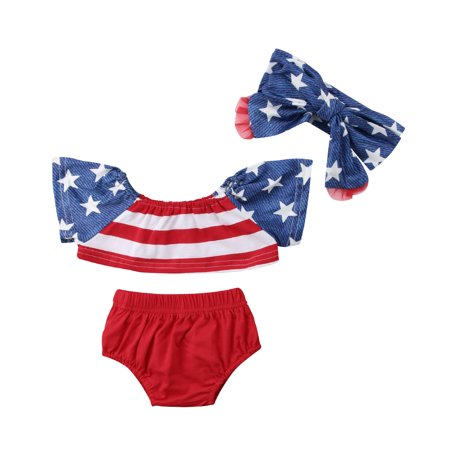 Independence Day Newborn Baby Girl Summer Clothes Striped Tank Tops+Shorts Pants Outfits Set