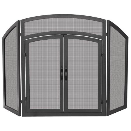 Buy Tri-Fold Fireplace Screen w Doors & Black Finish at Walmart.com