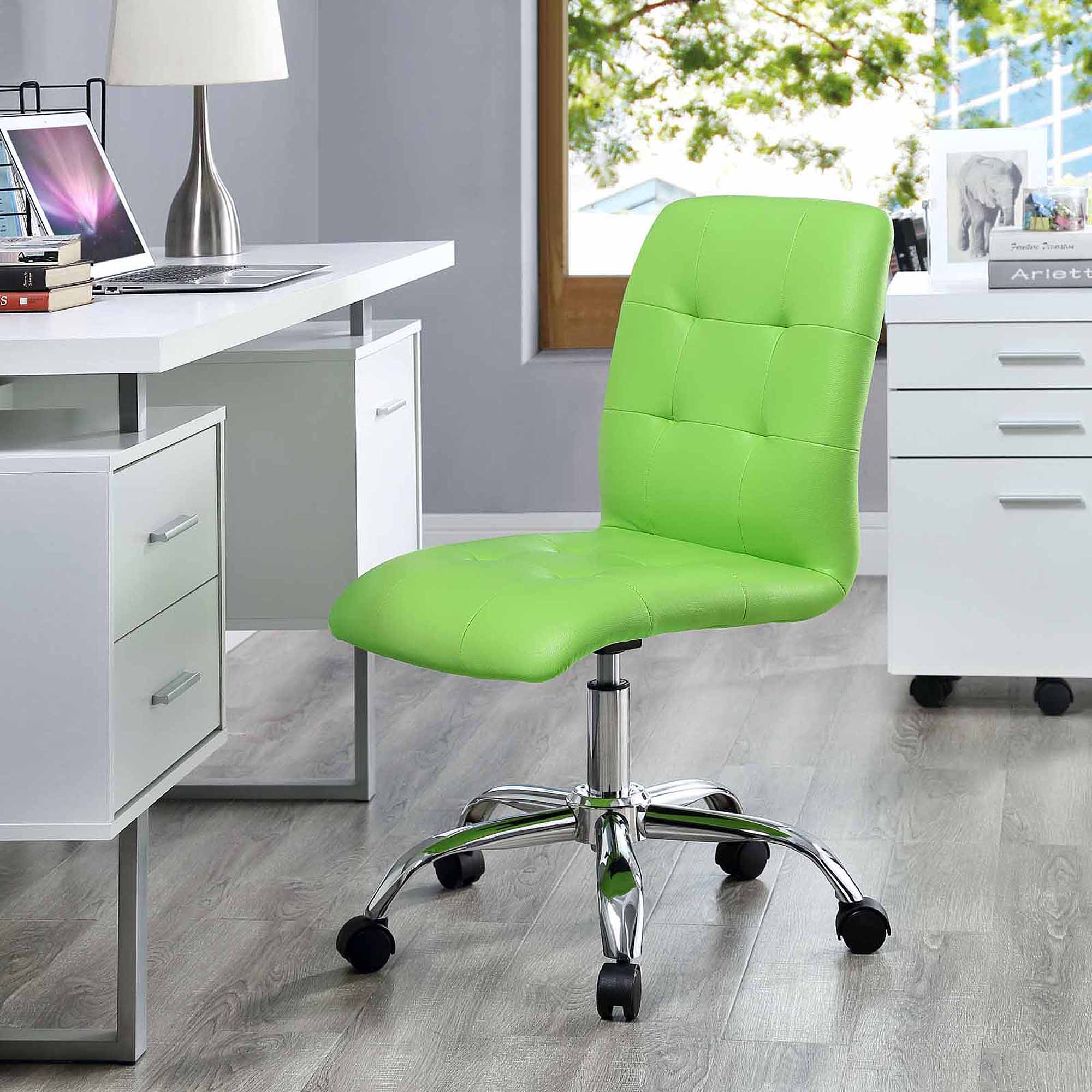 Modway Prim Armless Midback Leatherette Office Chair, Multiple Colors