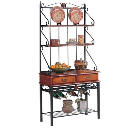 Bowery Hill Dirty Oak Bakers Rack with 2 Drawers ()