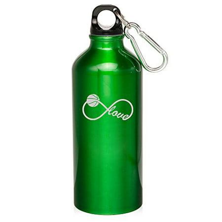 20oz Aluminum Sports Water Bottle Caribiner Clip Infinity Love for Basketball - Basketball Water Bottles