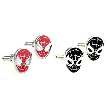 Superheroes Marvel Comics Spiderman Mask Assortment (2 Pair) Cufflinks