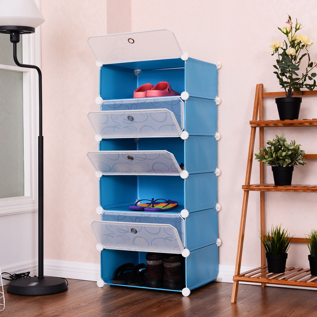 Costway 6 Cubic Portable Shoe Rack Shelf Cabinet Storage Closet Organizer  Home Furniture