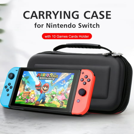 Carrying Case for Nintendo Switch with 10 Games Cards Holder EVA Hard Shell Handbag for Nintendo Switch Console Joy-Con Controller Accessories