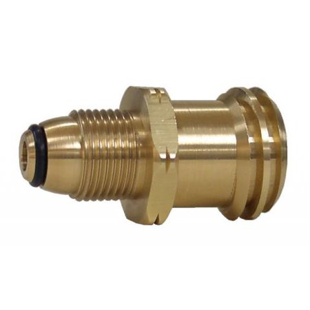 Marshall Excelsior ME398P Propane Adapter Fitting  Male POL (Prest-O-Lite) With O-Ring x 1-5/16 Inch Male ACME (Female POL); Brass; Single; Quick Closing Shutoff; With Plastic Clamshell - image 1 of 1