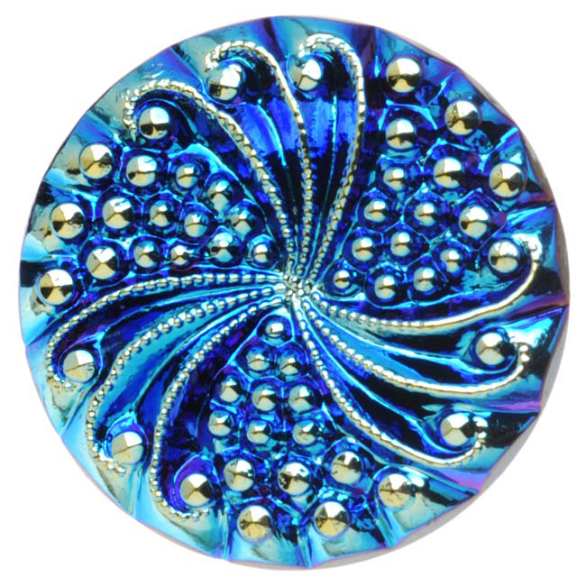 Czech Glass, Engraved Round Buttons with Swirl 23mm, 2 Pieces, Blue AB on Jet