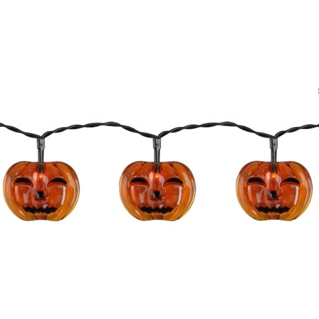 Set of 10 Battery Operated Jack-o-Lantern LED Halloween Lights - Black Wire for $<!---->