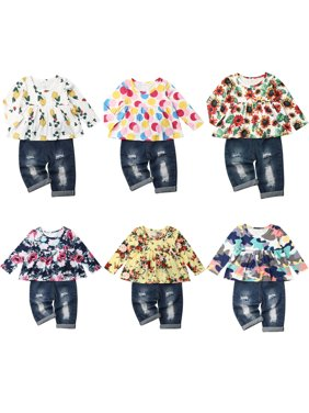 2PCS Kid Baby Girl Flower Tops Blouse+Jeans Denim Pants Winter Clothes Outfit