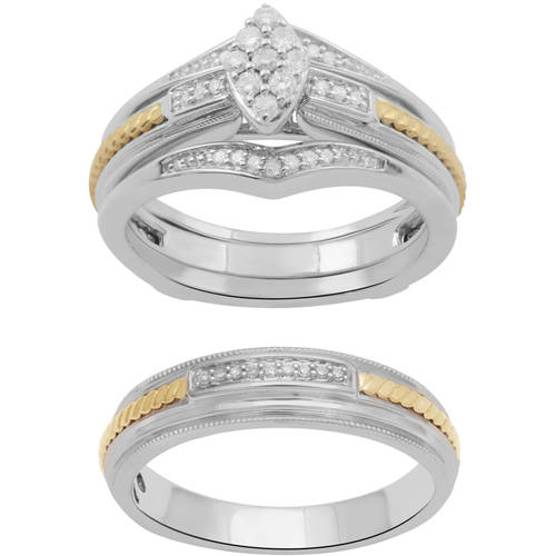 Forever Bride  Marquise Diamond & Sterling Silver Gold-Plated Wedding Trio Set