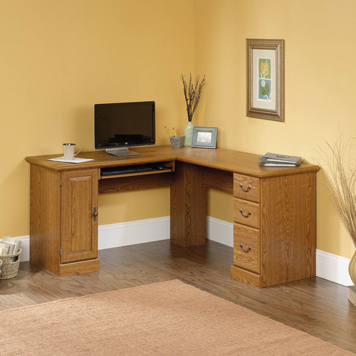sauder orchard hills corner computer desk carolina oak finish - Corner Computer Desks