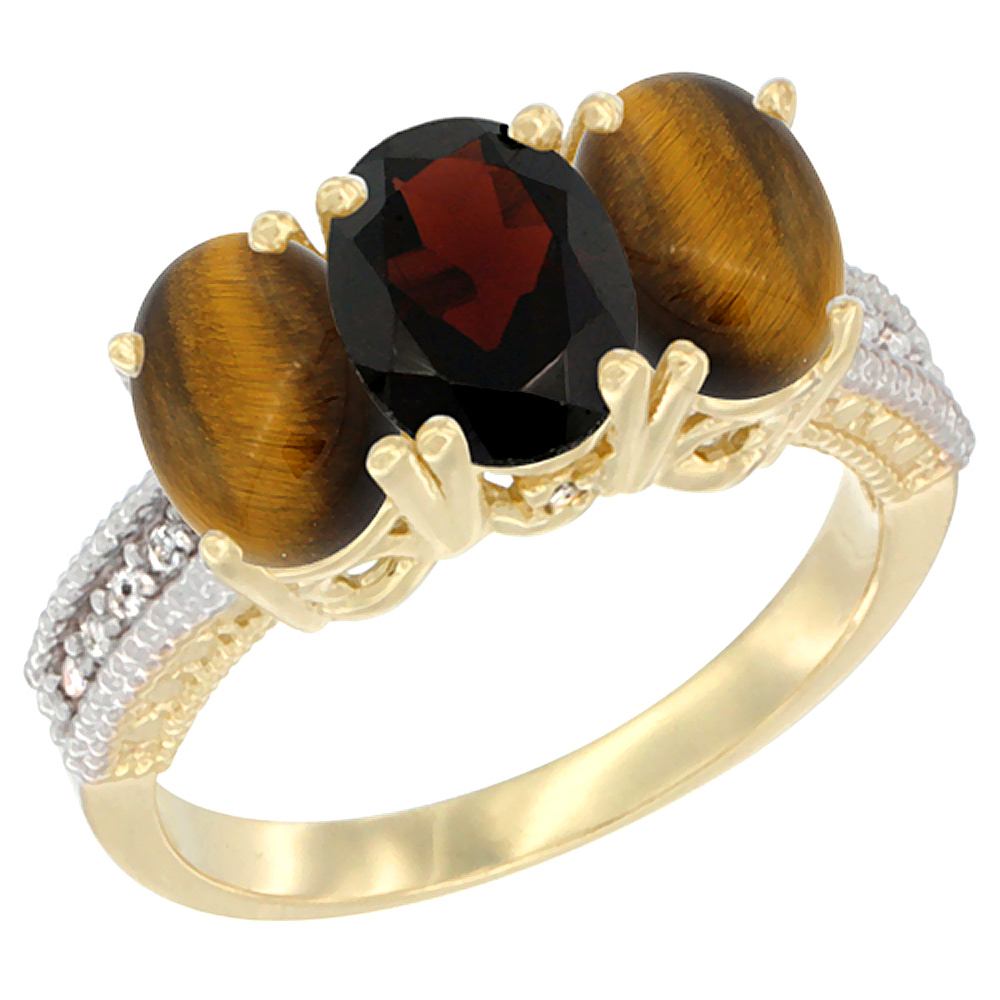 10K Yellow Gold Diamond Natural Garnet & Tiger Eye Ring 3-Stone 7x5 mm Oval, sizes 5 10 by WorldJewels