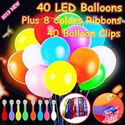 40 Pack LED Light Up Balloons, Premium Mixed-Colors Flashing Party Lights Lasts 12-24 Hours , Glow in the dark For Parties,
