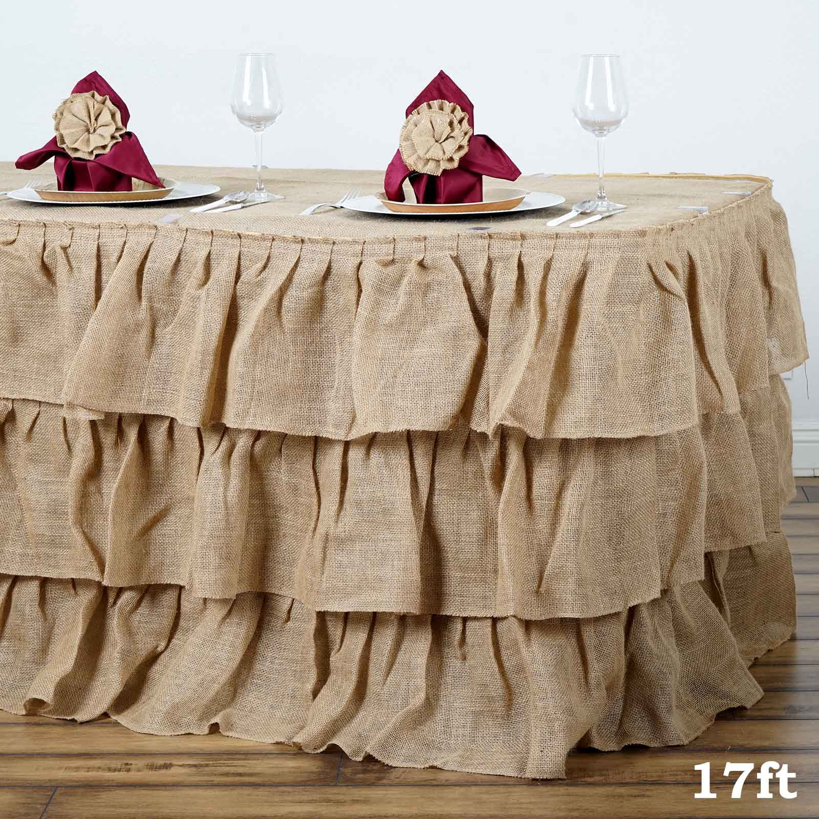 Efavormart 3 Tier Rustic Elegant Ruffled Burlap Table Skirt for Kitchen Dining Catering Wedding Birthday Party Decorations Events