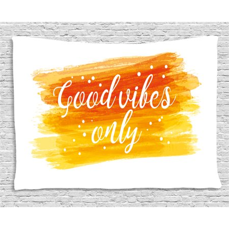 Good Vibes Tapestry, Watercolor Art Modern Calligraphy Message Hand Writing Letters and Dots, Wall Hanging for Bedroom Living Room Dorm Decor, 60W X 40L Inches, Orange Yellow White, by - Watercolor Letters