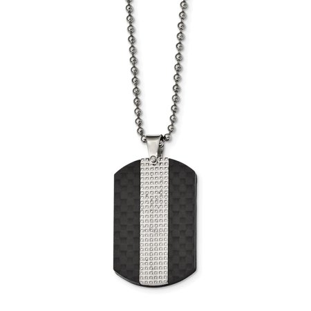 Mia Diamonds Stainless Steel Polished Studded Black Solid Carbon Fiber Dog Tag Necklace Chain