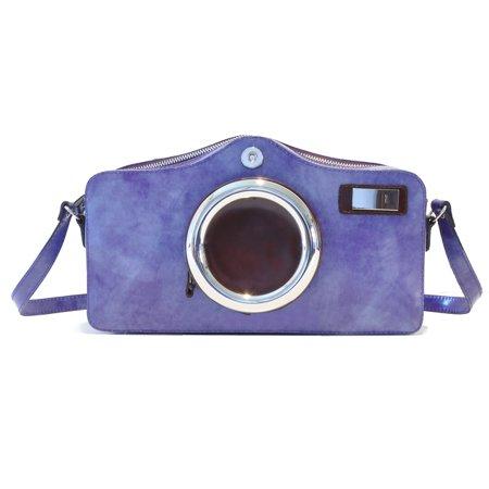 Pratesi Unisex Italian Leather Radica Photo Camera Shaped Crossbody Shoulder Bag Photo Brag Bag
