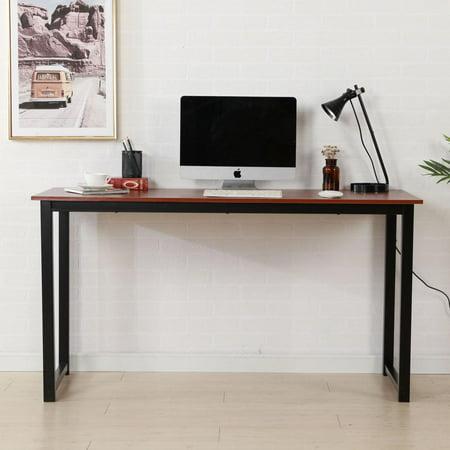 Ktaxon Computer Desk Rustic Iron Frame Wood Grain Veneer Surface High Density Board Table 55*24*29