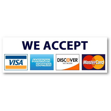 Discover Credit Card Sign In >> 8 X 2 75 Credit Card Sign Visa Mastercard Amex Discover Sticker