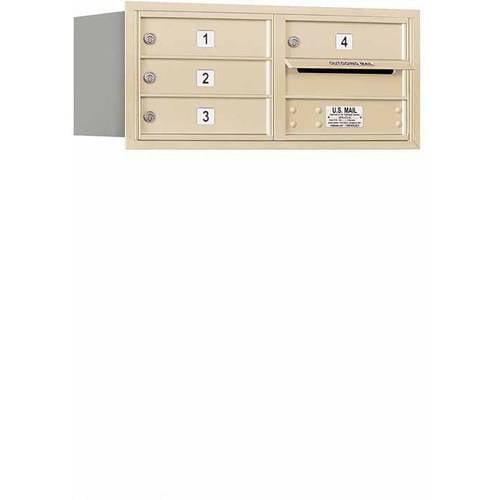 "Salsbury Industries 4C Horizontal Mailbox 3-Door High Unit (13""), Double Column, 4 MB1 Doors, Aluminum, Rear Load, USPS Access"