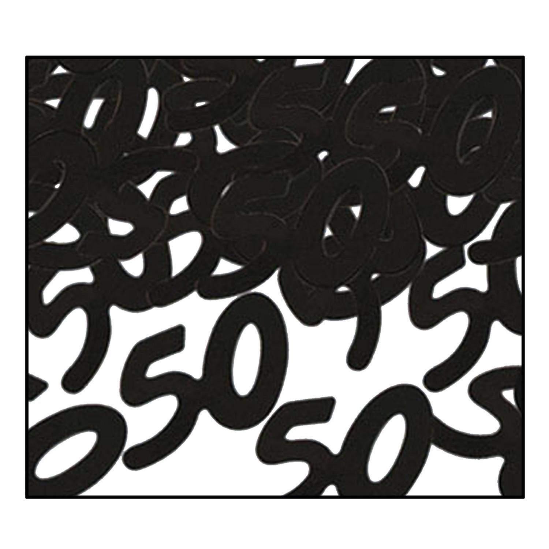 "Club Pack of 12 Black Fanci-Fetti ""50"" Celebration Confet..."