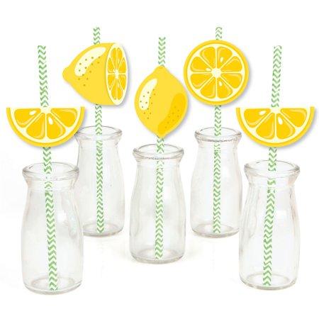 So Fresh - Lemon - Paper Straw Decor - Citrus Lemonade Party Striped Decorative Straws - Set of 24
