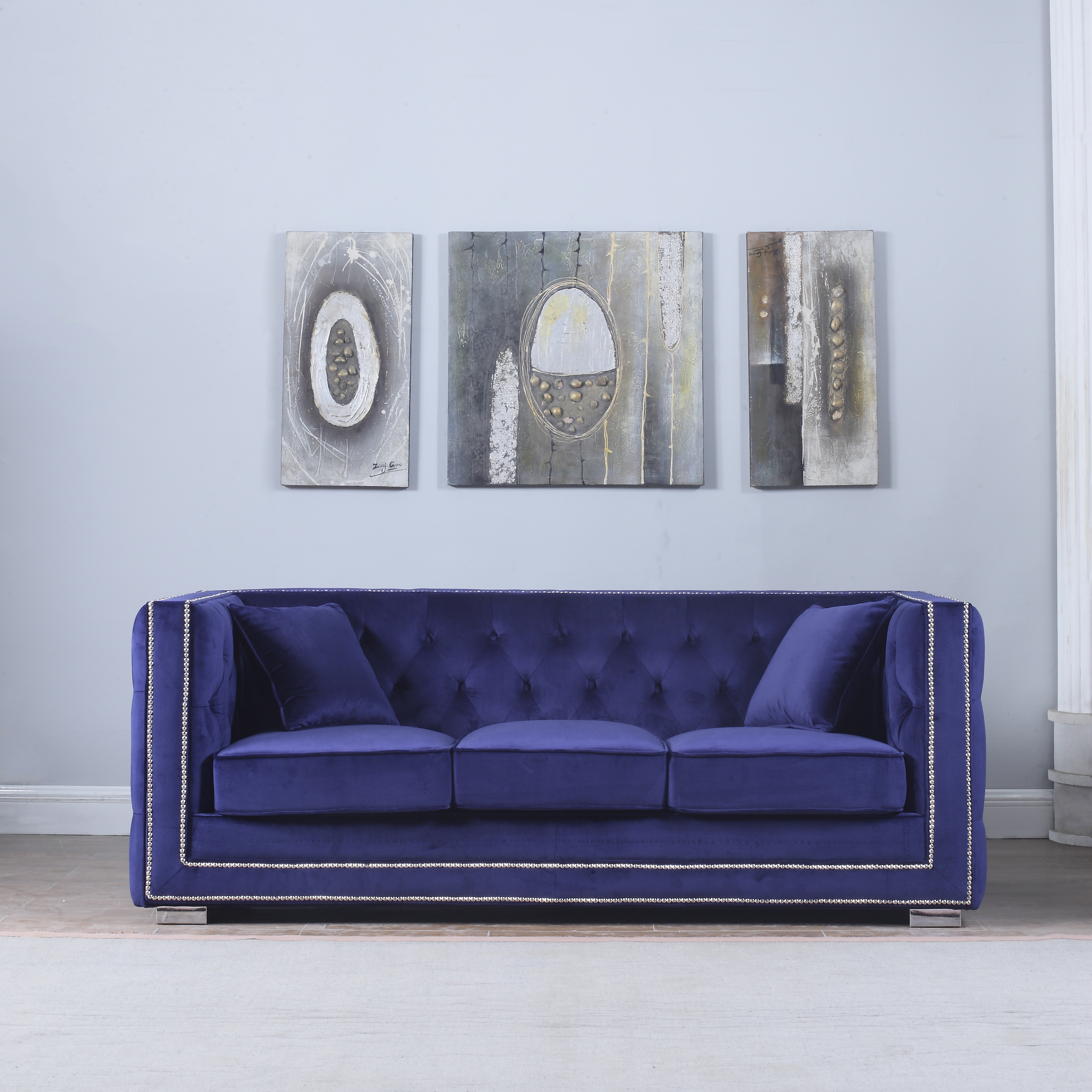 Modern Tufted Velvet Fabric Sofa with Nailhead Trim