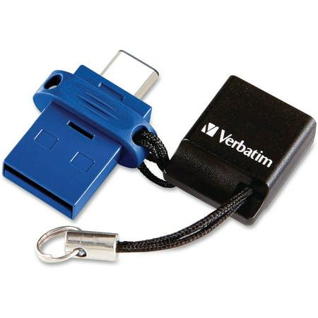 Verbatim 64gb Store 'n' Go Dual Usb 3.0 Flash Drive For Otg Devices - Taa Compliant - 64 Gbusb Type C, Usb 3.0 - Blue (99155 18)
