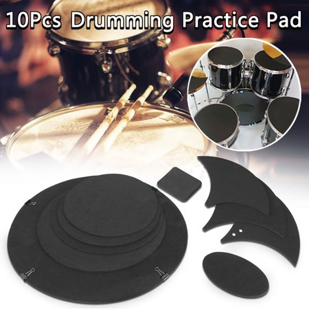 Drum Mute Pack (10Pcs Bass Snare Tom Sound Drums Silencer Pad off / Quiet Drum Mute Silencer Drumming Practice Pad Set Black )