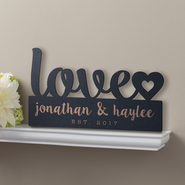 Personalized Our Love Black Wood Plaque
