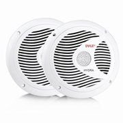 6.5 Inch Dual Marine Speakers - 2 Way Waterproof and Weather Resistant Outdoor Audio Stereo Sound System with 150 Watt Power, Polypropylene Cone and Cloth Surround - 1 Pair - PLMR60W (White)