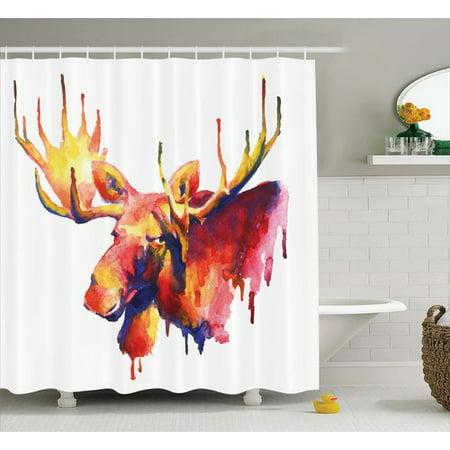Loon Peak Auburn Psychedelic Watercolors Single Shower Curtain