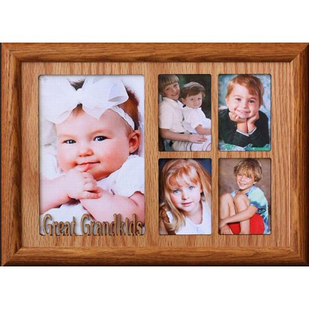 7X10 Great Grandkids ~ Multi-Collage Portrait Picture Frame ~ Fruitwood - Ooak Collage