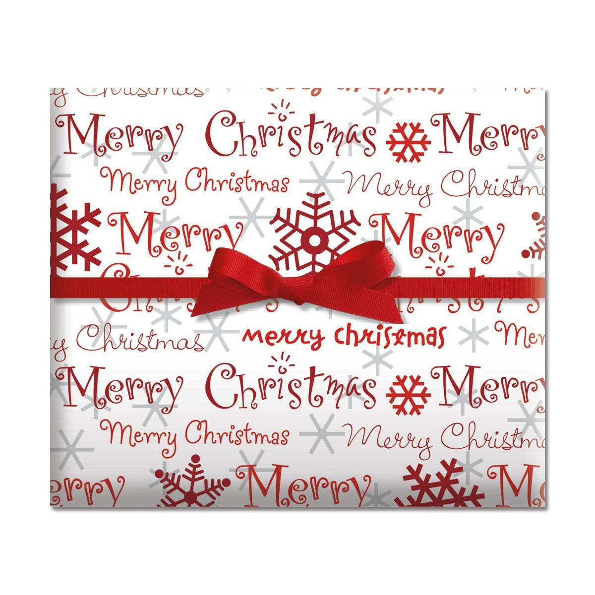 Merry Christmas Script Jumbo Rolled Gift Wrap