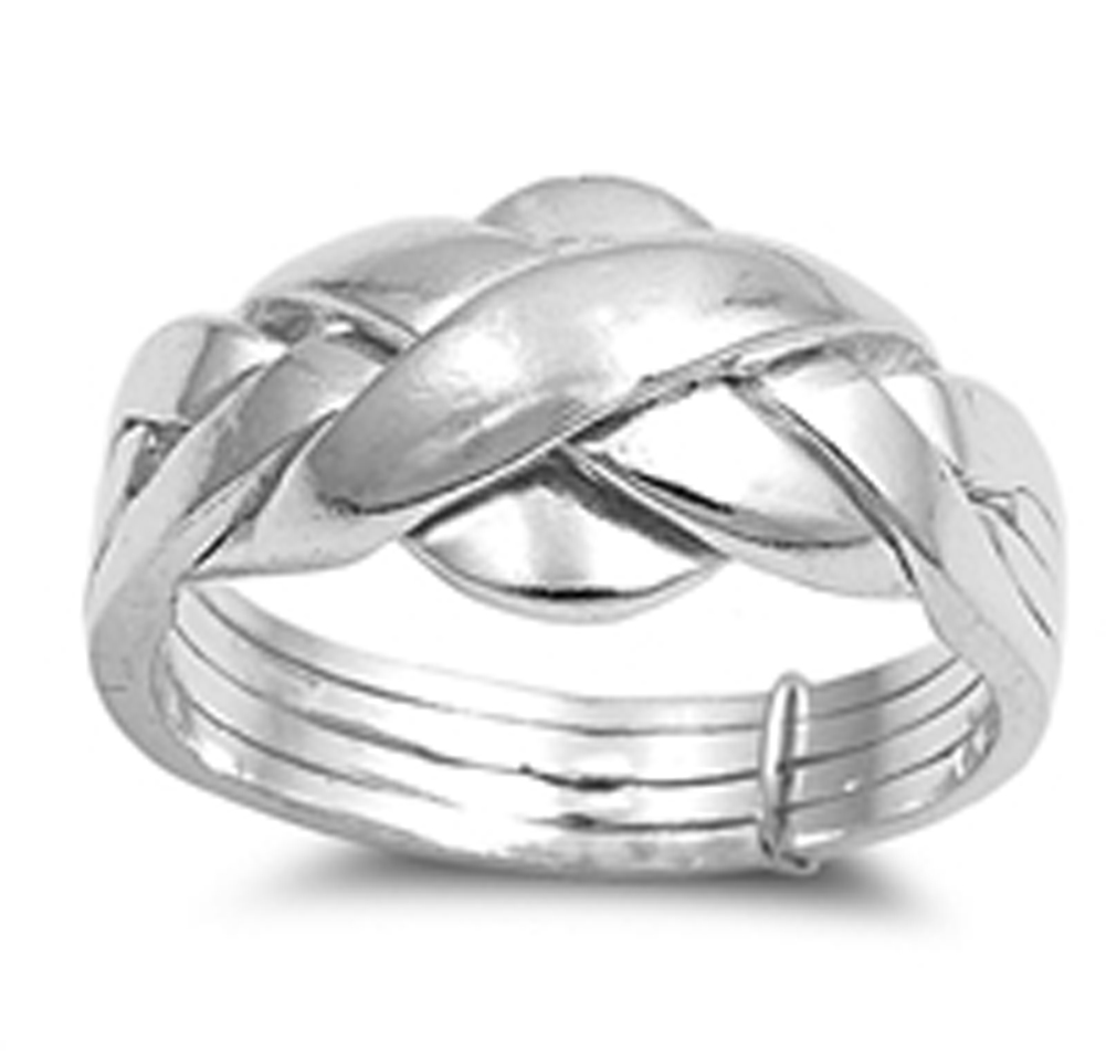 Four Bands Sterling Silver Puzzle Ring Mens and Womens Sizes