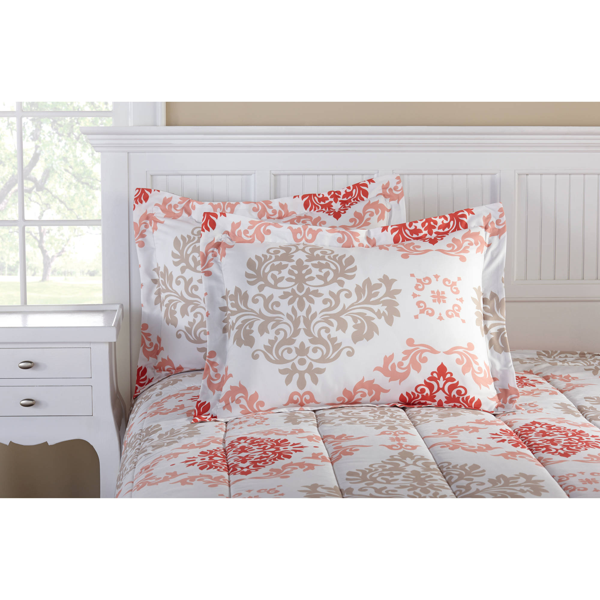 Mainstays Coral Damask Bed In A Bag Bedding Walmart Com Walmart Com