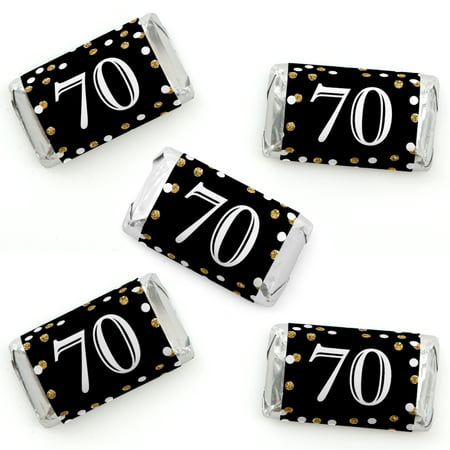 70th Birthday Games (Adult 70th Birthday - Gold - Mini Candy Bar Wrapper Stickers - Birthday Party Small Favors - 40)