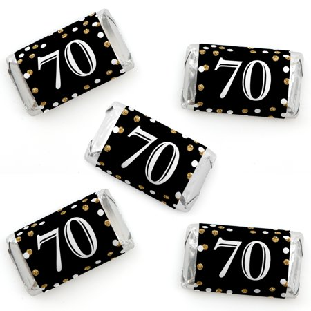 Adult 70th Birthday - Gold - Mini Candy Bar Wrapper Stickers - Birthday Party Small Favors - 40 - Small Birthday Party Ideas