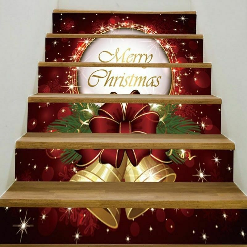 3d Christmas Tree Pattern: 3D Christmas Tree 5 Stair Risers Decoration Photo Stairway
