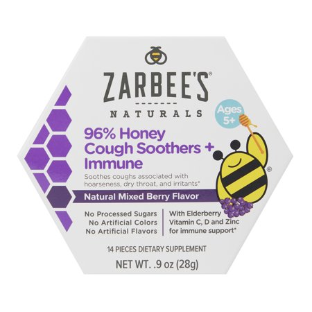 Naturals 96% Honey Cough Soother + Immune Support Lozenges, Mixed Berry, 14