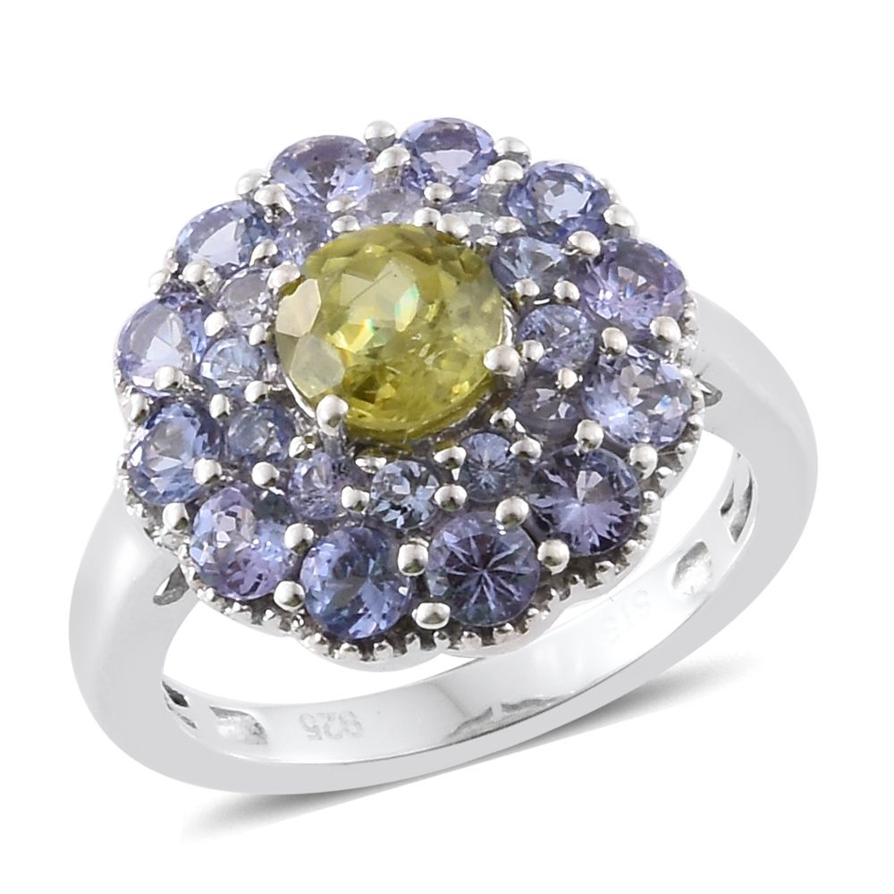 Sphene, Tanzanite Platinum Plated Silver Ring 2.36 cttw. by Shop LC