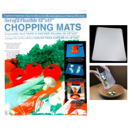 2 Flexible Chopping Mats Kitchen Fruit Vegetable Plastic Cutting Board Camp