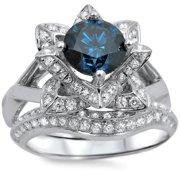 Noori Collection Noori 14k White Gold 1 3/5ctw Blue Round Diamond Lotus Flower Bridal Ring Set